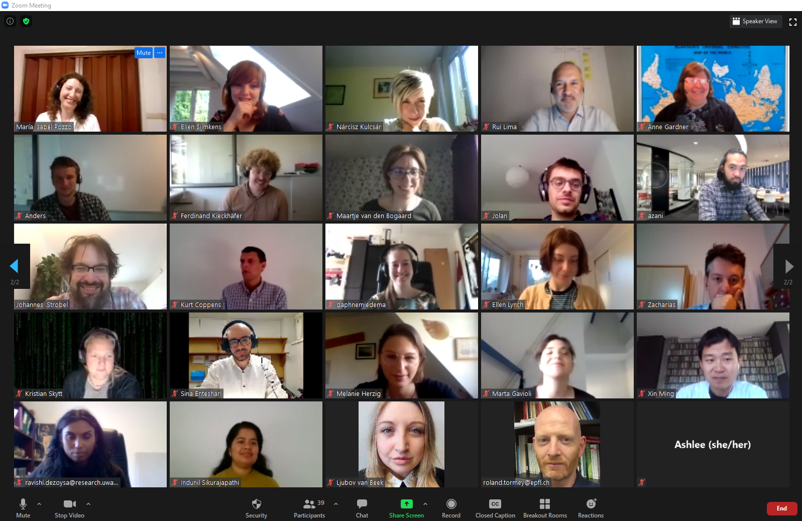 A screenshot of a zoom window containing 25 of the symposium participants.